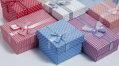 Stock Video Footage of present boxes slow rotating