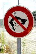 panel prohibited with the dog - stock photo