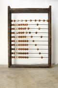 Close up of a wooden abacus beads Stock Photos