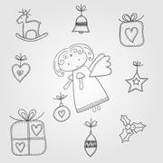 christmas doodles with angel - stock illustration