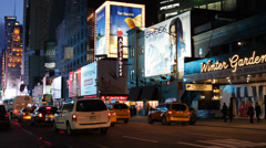 Illuminated Night Landmark Iconic Famous Times Square New York City Famous Place Stock Footage
