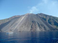 stromboli, active volcano which is part of the aeolian islands archipelago - stock photo