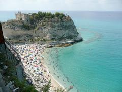 view over isola bella beach, tropea, italy - stock photo