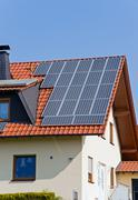 Roof with solar panels in Germany Stock Photos
