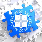 SWOT Analisis on Blue Puzzle. - stock illustration
