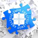 Stock Illustration of SWOT Analisis on Blue Puzzle.