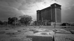 Detroit Train Station Black and White Stock Footage