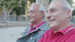 Old men enjoys sitting on a bench in park. Smiling and looking at camera - stock footage