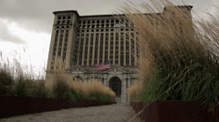 Detroit Train Station Abandoned Building Urban Decay Bankruptcy - stock footage