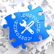 Customize Concept on Blue Puzzle. - stock illustration
