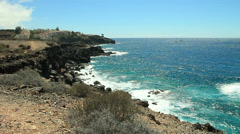 Volcanic coast in Tenerife south with luxury houses. Canary islands, Spain. Stock Footage