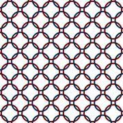Blue, red and white interlaced circles textured fabric background Stock Illustration