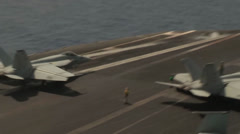 flight operations aboard the aircraft carrier USS Nimitz (CVN 68) - stock footage