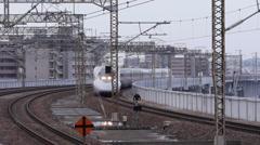 Shinkansen Arrives at Okayama Station Stock Footage