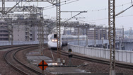Stock Video Footage of Shinkansen Arrives at Okayama Station
