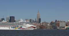 Ultra HD 4K Skyline Empire State Building Hudson River New York City Cruise Ship Stock Footage