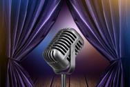 Stock Illustration of stage with open curtains and microphone