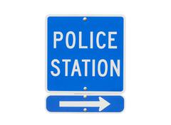 Police station sign isolated Stock Photos