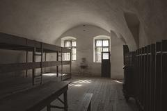 barracks room in terezin - stock photo