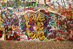 love on the lennon wall - stock photo
