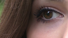 Close-up portrait of beautiful young woman eye - stock footage