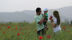 Cute baby play with young parents in blossom poppies field, give five Stock Footage