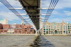 The millennium bridge against st paul cathedral, london, uk Stock Photos