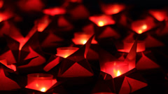 Commemorative night,many red candles ligh Stock Footage