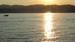 Boat on Lake CDA with Sunset - stock footage