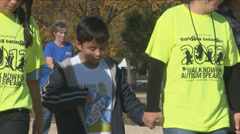 Autism charity walk Stock Footage