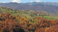 Colored nature, autumn on mountain village Stock Footage