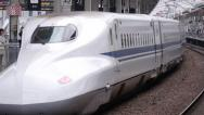 Stock Video Footage of Shinkansen Departs Okayama Station