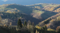 Look over the late autumn mountains Stock Footage