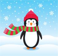 Lonely Penguin In The Snow - stock illustration