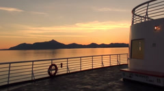 Beautiful View of Vivid Sunset From Deck of Ship at Sea in the Inside Passage Stock Footage
