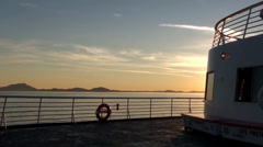 Beautiful View of Sunset at Sea From Deck of Alaska Marine Highway Ferry Stock Footage