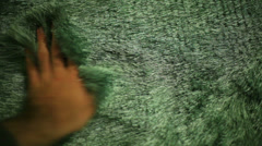 Touching shag rug Stock Footage