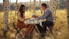 Young Man Proposing to Girlfriend Romantic Nature Date Stock Footage