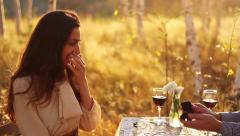 Romantic Couple Proposal in Forest at Sunset Stock Footage