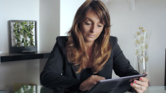 Portrait of tired young business woman with laptop computer at the office Stock Footage