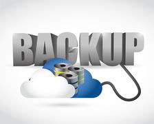 back up sign connected to a server cloud. - stock illustration