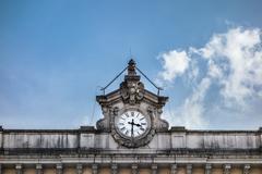 railway station clock - stock photo