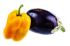 Eggplant and pepper Stock Photos