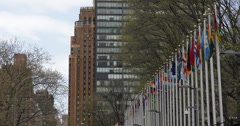 Ultra HD 4K United Nations in NYC Diplomatic Political Peace Keeper Treaty Stock Footage