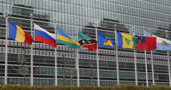 Ultra HD 4K UHD United Nations Building Landmark International Flags Diplomat Stock Footage