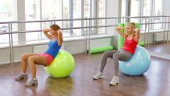 Fitball Workout Stock Footage