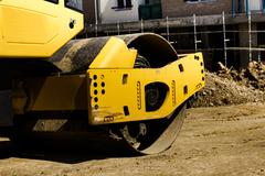 Construction machine road roller on the site Stock Photos