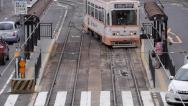 Stock Video Footage of Streetcar in Okayama