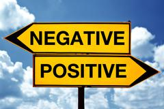 negative or positive, opposite signs - stock photo