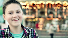 Happy boy with the funny face in the city HD Stock Footage